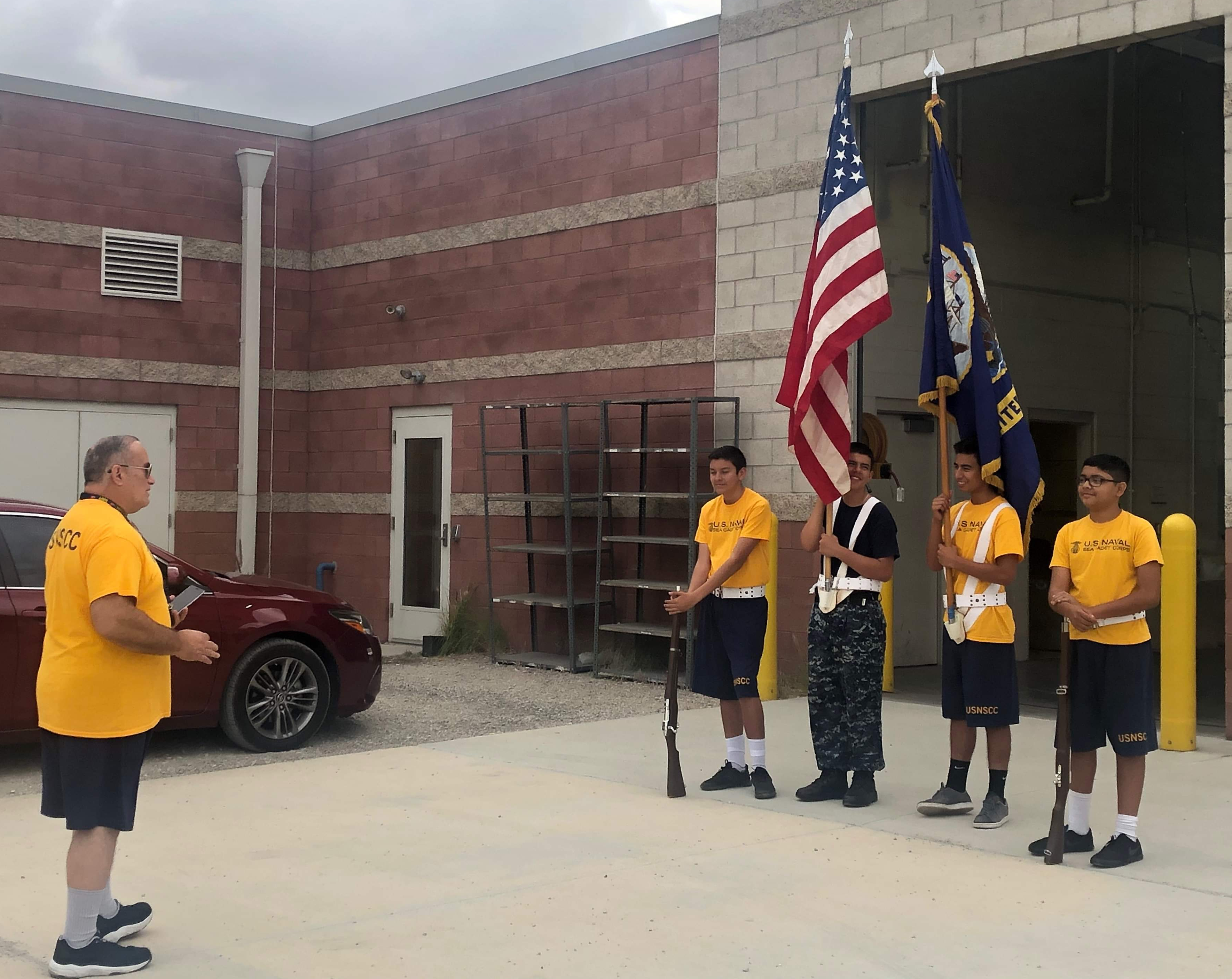 Color Guard Team & Commanding Officer take a break from training to reflect on some funny moments 2019